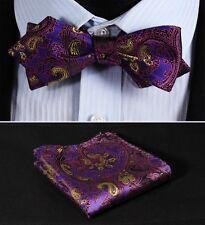 JF201P Purple Yellow Paisley Men Diamond Point Tip Self Bow Tie Pocket Square