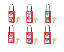 NEW Master Lock 411KA RED Keyed-Alike Safety Padlock (PACK of 6)