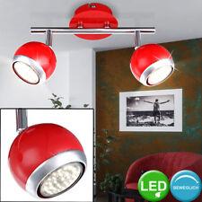 6 W LED Decken Spot Strahler Lampe Chrom Retro Design Esszimmer Kugelform rot