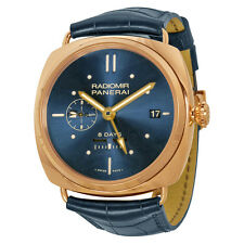 Panerai Radiomir 8 Days GMT Oro Rosso Mechanical Blue Dial Mens Watch PAM00538