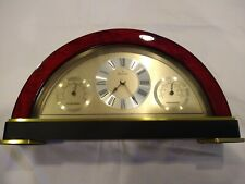 Bulova Accutron Half Moon shaped Clock Hydrometer & Thermometer Wood & Gold trim