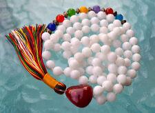 Beautiful White Jade Hand Knotted Chakra Mala  Beads Necklace - Energized Karma