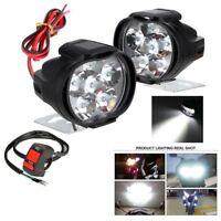 1Pair Universal Spotlight LED Motorcycle Headlight Mirror Mount Fog DRL +Switch