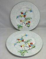 """Beautiful Vtg hand painted 8 1/2"""" plates.Crown Staffordshire. Asian flowers"""