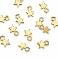 100× Tibetan Blank Stamping Tag Charm Pendant Christmas Star Gold Chain Necklace
