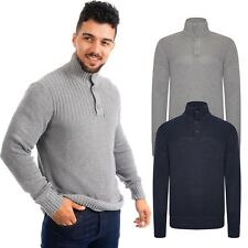 Mens Jumper 1/4 Button Knitted Funnel Neck Sweater Pullover High Neck Long Tops