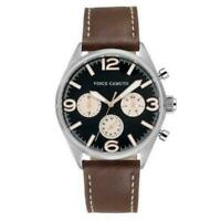 Vince Camuto Men's VC/1102BKBN Black Dial Brown Leather Strap Watch No Box