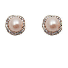 Fashion Jewelry - 18K Rose Gold Plated Imitation Pearl Stud Earrings (FE092)