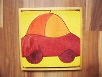 Holzpuzzle Steckpuzzle für die ganz Kleinen - 8 Teile Auto 19x19 cm