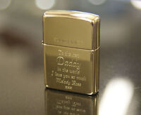 Personalised Polished Brass Genuine Zippo Lighter with Free engraving