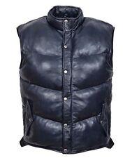 Waistcoat Men's Padded BLACK Puffer WARM Sleeveless Real Genuine Leather Jacket