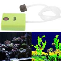 Aquarium Dry Battery Operated Fish Tank Air Pump Aerator Oxygen With Stone A9B7