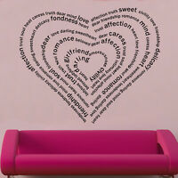 Heart In Words Decal Vinyl Wall Sticker Art Home Sayings Popular