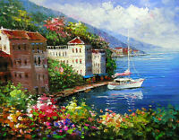Dream-art Oil painting Mediterranean landscape with Yacht at the pier & flowers