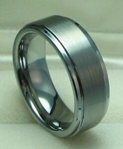Men 8mm Titanium ring Satin Finished Wedding Band Size 9