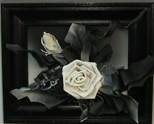 Bild aus Leder in 3D Optik - Neu & OVP - D - K1-10 - Schwarz/Weiss-Blume - Rose