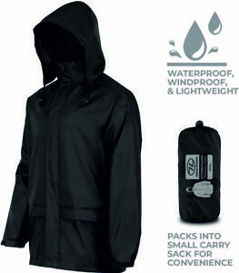 Men's Waterproof Coat Jacket Pack Away Pacamac Hood Camping Walking Hiking NEW