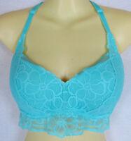 Victoria's Secret Racerback Tropical Push Up Long Bralette Bra S D-DD Aqua Lace
