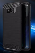 Samsung Galaxy S8 Case (Black, Grey) Carbon Fiber TPU Case Cover