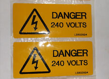 2 x Yellow Self Adhesive label DANGER 240 VOLTS 80mm x 35mm