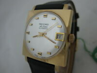 NOS NEW SWISS MADE VINTAGE AUTOMATIC RECORD MEN'S ANALOG WATCH WITH DATE 1960'S