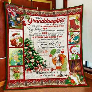 Christmas - To My Granddaughter I'll Stay, Fleece, Quilt Blanket print in USA