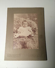 Antique Photograph of Baby in Fancy Fur Chair! Wonderful Pose! Seated! Small!
