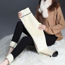 Women Thick Fleece Velvet Lined Pants Thermal Leggings Winter Warm Stretchy