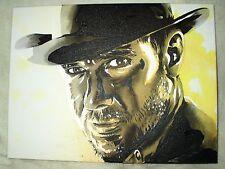 Lienzo De Indiana Jones Harrison Ford Jaspeada B&W Arte 16x12 pulgada de acrílico