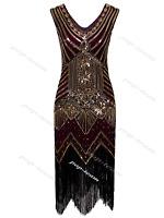 1920s Beaded Vintage Flapper Great Gatsby Fringe Sequins Maxi Dress Size UK 4-20
