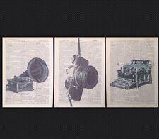 3x vintage industrial estampado Diccionario Página decoración pared imagen