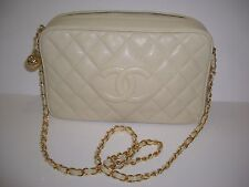 AUTH CHANEL QUILTED CAVIAR LEATHER MEDIUM CAMERA CASE SHOULDER BAG