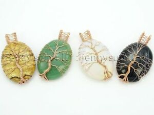 Natural Gemstone Reiki Chakra Tree of Life Oval Pendant Charms Rose Gold Plated