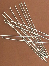 "50PCS Sterling Silver Headpins, 2""/24 Gauge, HeadPin, Earring Domed Head Pin."