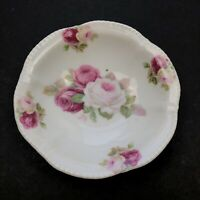 Antique Pink White Roses Floral Scallop Edge Berry Bowl Ceramic Flowers Germany