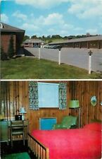 Albany NY~Paneling~Green Chair~Red Bedspread~Table Radio~Kerslakes Motel~1950s