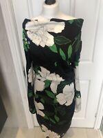 Jigsaw 100% Silk Green / Black Floral Midi Dress w Gold Zip Detail  Size 10 BNWT