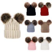 Newborn Kids Baby Boy Girl Pom Hat Winter Warm Crochet Knit Bobble Beanie CapZXC