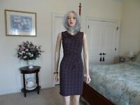 Ann Taylor Black/Burgundy Print Cowl Neck sheath Dress Size 4