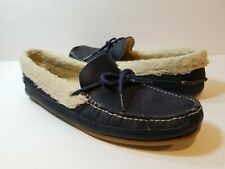 COLE HAAN GRIFFIN C20975 FAUX FUR LINED MENS LEATHER SLIPPERS NAVY BLUE - SZ 9M