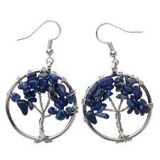 Natural Lapis Lazuli Dangle Hoop Earrings Handcraft Jewelry Gift Women Mom CAE01