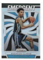 Brandon Clarke Rookie Card 2019-20 Prizm Emergent SILVER 28 Memphis Grizzlies RC