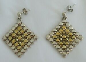 MILOR STERLING AND GOLD-PLATED STERLING SILVER MESH EARRINGS, MADE IN ITALY.