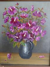 P. Beaudroit - HST nature morte bouquet de fleurs violettes - ca 1980