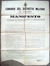 1885 MANIFESTO DA PESARO SU CHIAMATA ALLE ARMI (GUERRA D'ERITREA). COLONIALISMO