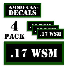"17 WSM Ammo Can 4x .17 WSM Labels Ammunition Case 3""x1.15"" sticker decals 4 pack"