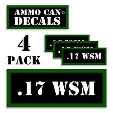 "17 WSM Ammo Can 4x .17 WSM Labels Ammunition Case 3""x1.15"" sticker decals 4 pack"