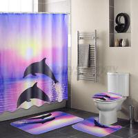 Bathroom Shower Curtain Dolphin Sea Waterproof Bath Mat Rugs Cover + Hooks US