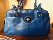 Coach Penelope Blue Leather Snake Accent Satchel Shoulder Bag F16529 EUC!