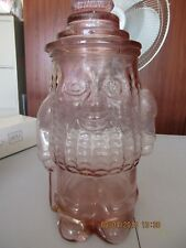 VINTAGE PINK GLASS MR PEANUT COOKIE JAR RARE DEPRESSION GLASS